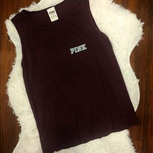 PINK Maroon Muscle Tank With White Print